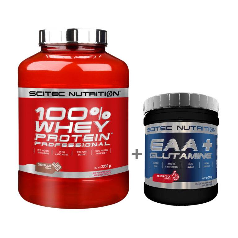 Combo Scitec Nutrition 100% Whey Protein Professional 2350g & Scitec Nutrition EAA + Glutamine 300g - BC00002SC& BC75888SN