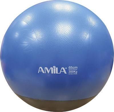 Μπάλα Γυμναστικής Amila Gymball 65cm Μπλε με Βάρος Στην Βάση 48445 -