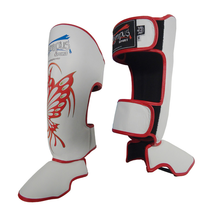 Shin Instep Guard Olympus by Raja Leather BUTTERFLY - White